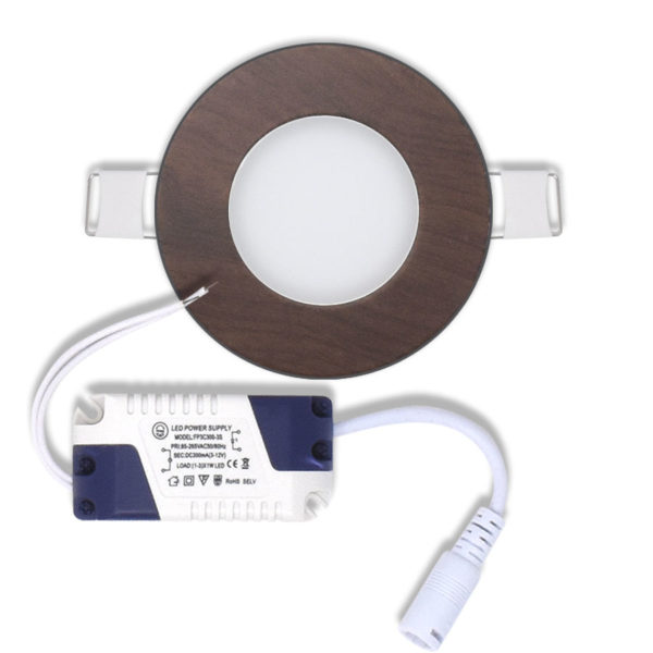 Panel led redondo de encastrar 3w marron