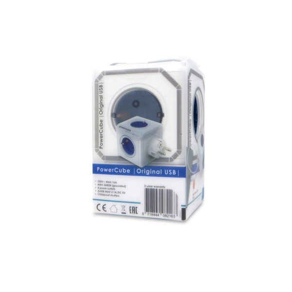 ladron enchufes power cube original usb azul 2