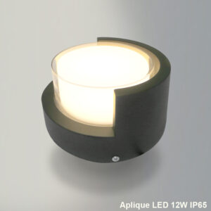Aplique LED redondo 12w ip65