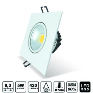 downlight cuadrado blanco basculante 5W