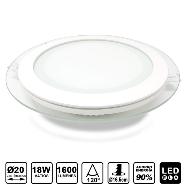 glass panel LED light 18W redondo de empotrar