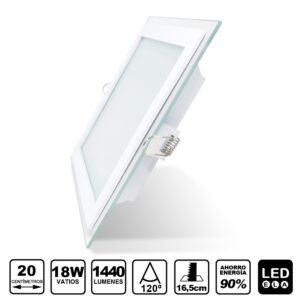 glass panel LED 18W light cuadrado 1